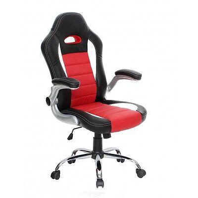 Silla de oficina Racing para Gamers, en color rojo y negro 65x113