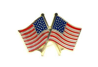 United States Flags Crossing Lapel Hat Pin Patriotic USA PPM560R