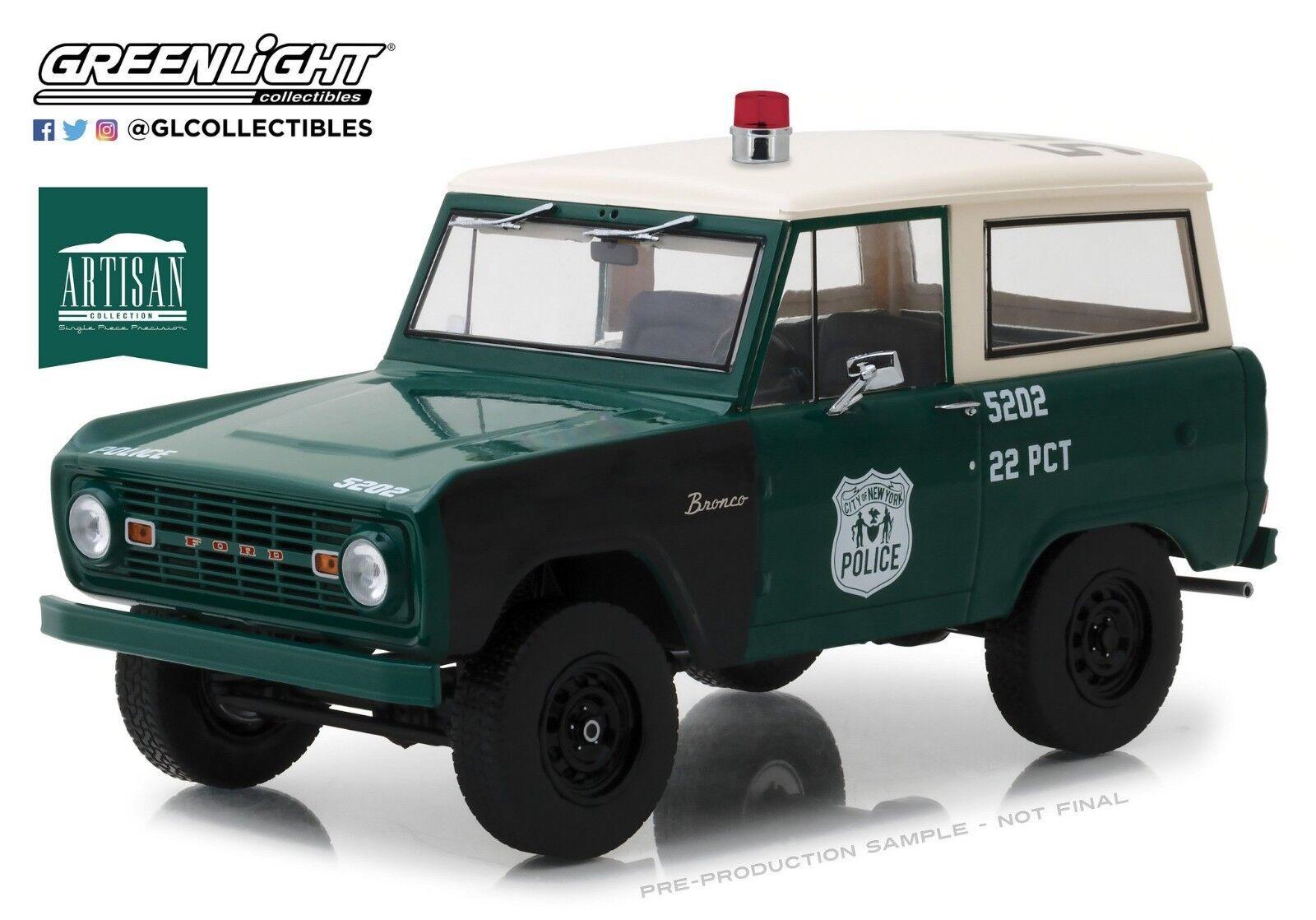 verdelight 1 18 Artisan Collection 1967 Ford Bronco-policía de la ciudad de Nueva York 19036