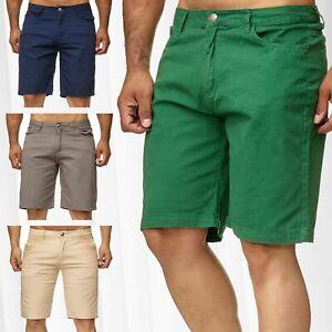 Pantalon-court-d-039-ete-unicolore-Chino-pour-homme-Casual-Bermuda-Shorts-3-4-Capri