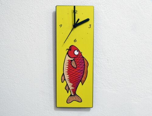 Comics Pop Art Design Chinese Koi Fish Wall Clock