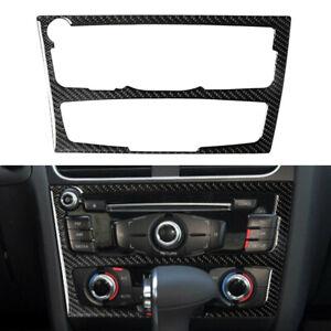 Carbon-Fiber-Console-AC-CD-Panel-Frame-Cover-Trim-For-2010-2016-Audi-A4-B8-A5