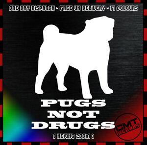 Agressif Pugs Not Drugs Voiture Décalque Autocollant Nouveauté Euro Carlin Animaux - 17 Couleurs-afficher Le Titre D'origine