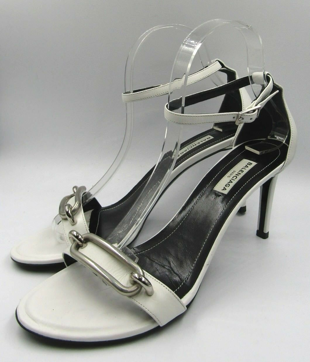 New Balenciaga Veau Lisse Maillon Sandals Heel blanc Leather Leather Leather argent Buckle 8.5 188ffd
