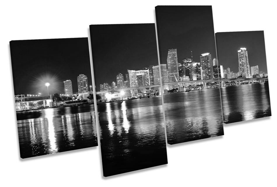 Miami Florida Night Skyline B&W Picture MULTI CANVAS WALL ART Print