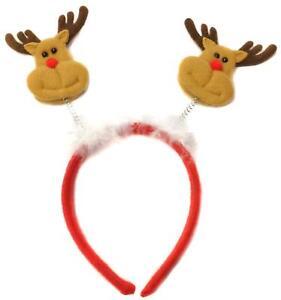 RED REINDEER ANTLERS WITH EARS HEADBAND CHRISTMAS SANTA FANCY PARTY HEAD BOPPER