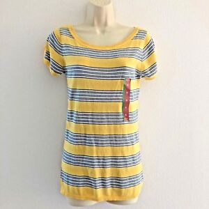 Mossimo-Women-039-s-Medium-Top-Knit-Scoop-Neck-Puff-Sleeve-Striped-Yellow-Blue-White