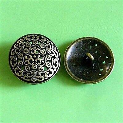 10 Brass Metal Plate Buttons Dark Copper 16.5mm 26L G25