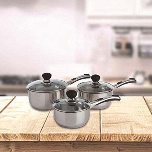 Silver Stainless Steel 16 x 41 x 27 cm 83050-I Sabichi 3pc Living Easy Grip Pan Set
