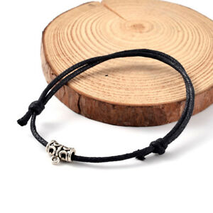 Details About 50 Strds Adjule Waxed Cotton Cord Bracelet Bases With Alloy Bails Black 65mm