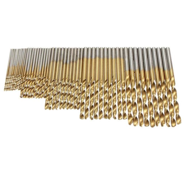 50 Stueck 1// 1.5// 2.0// 2.5// 3 mm Titan Beschichteter HSS Bohrer Set W7G2