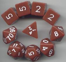 RPG Dice 10pc - Opaque Brown - 1 @ D4 D8 D10 D12 D20 D00-10 & 4 D6