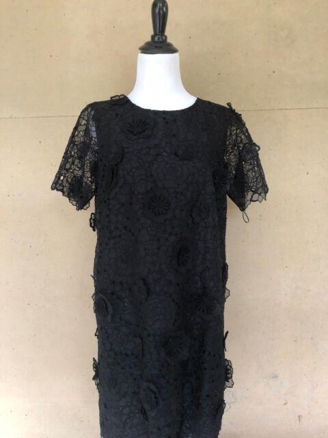 Stella Mccartney Black Lace Applique Floral Dress Size 42 2500 Ebay