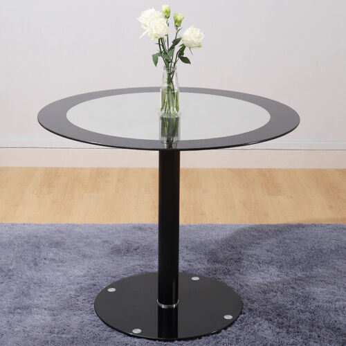 Bistro//Cafe Clear Chrome Round Glass Dining Table Set and HighBack Dining Chairs