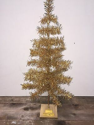 "Gold Feather Tinsel Tabletop Tree 48"" Christmas Holidays & Decorations"