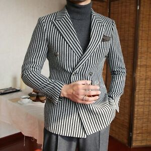 Men-039-s-Striped-Blazer-Suit-Double-breasted-Peak-Lapel-Formal-Party-Prom-Tuxedos