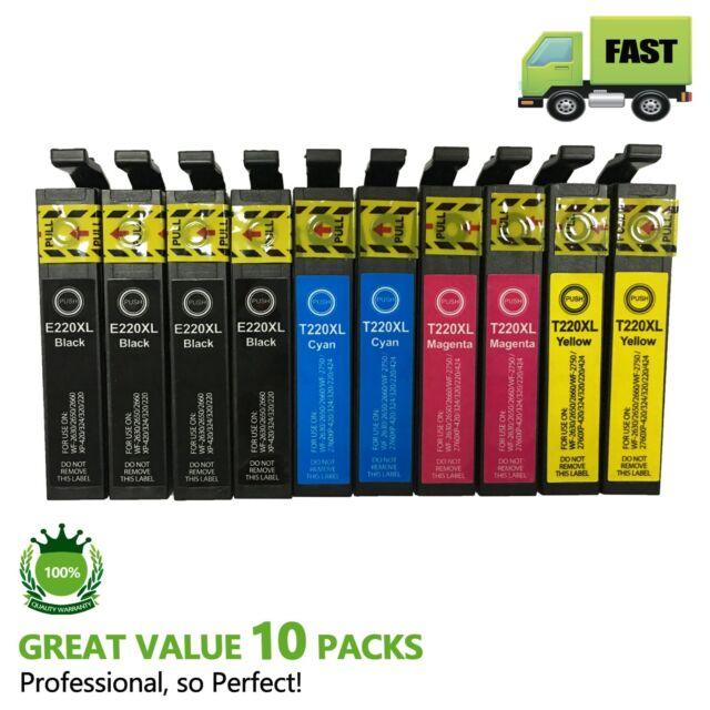 10 Ink Cartridges for Epson 220XL XP-220 XP-320 XP-324 XP-420 WF-2630 WF-2650