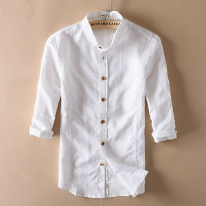 Men 39 S Linen Three Quarter Sleeve Shirts Solid Casual