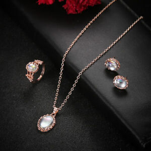 Luxury Women Rose Gold Crystal Necklace Ring Earring Wedding