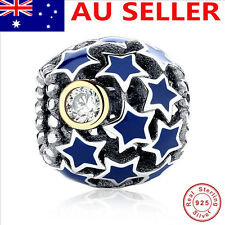 S925 Solid Sterling Silver European Charm W/CZ  Blue star ENAMEL charm bead 12#