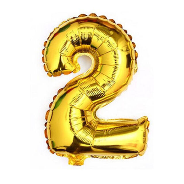 40 Metallic Gold Glossy Two Year Old Birthday Party Number 2 Float Balloon USA