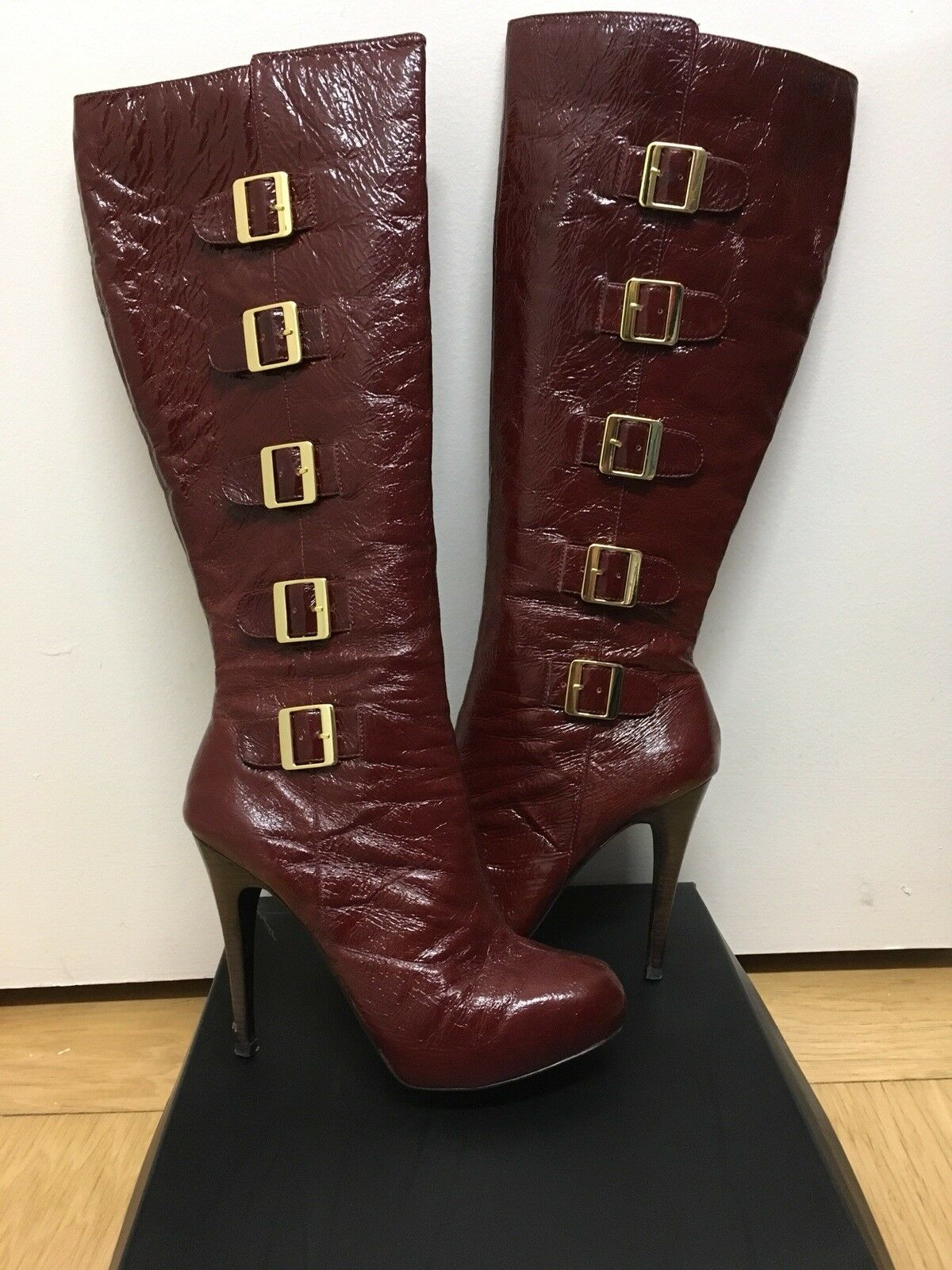 Sole Project By Bakers Burgundy Knee High Leather Boots, Size 7.5
