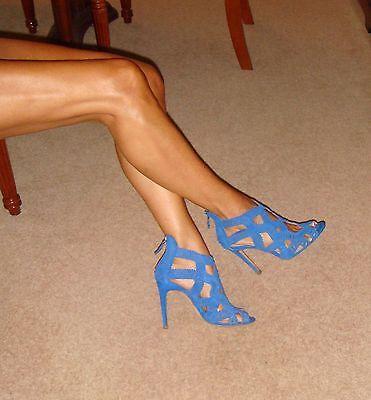 Zara Shoes Size 4, Vivid Blue Suede-Effect Open-Toe Back-Zip Laser Cut Heels