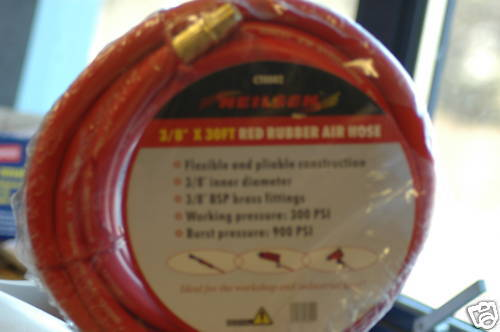 """30ft Rubber Air Line 1/4"""" Bsp Fitting"""