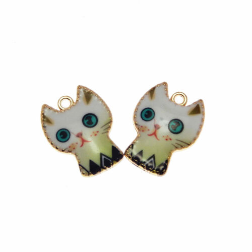 Lot of 10 Enamel Plated Cute Cat Charm Pendant DIY Jewelry Findings 28x23 MM