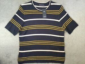 M-amp-S-NAVY-BLUE-SHORT-SLEEVE-RIBBED-TOP-WITH-OCHRE-amp-PEACH-STRIPES-BNWT