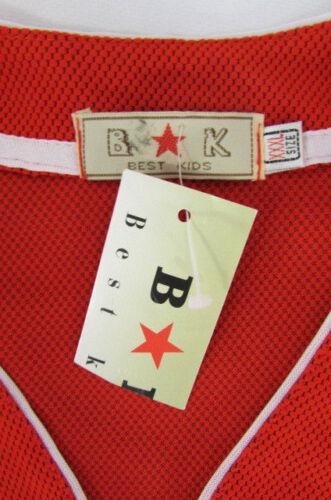 Nuovo Bk Bambini Bianco Rosso Nera Sport Gessato Uomo Camicia Best Basket rrqZdF