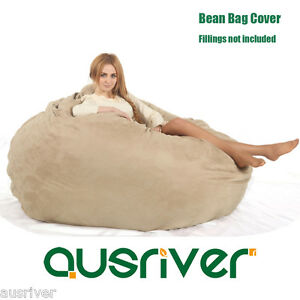Image Is Loading Large Beige Suede Dia180cm Bean Bag Loveseat Sofa