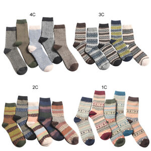 e793bab1f56cf 5 Pairs Mens Knitted Wool Thick Warm Soft Ethnic Casual Sports Socks ...