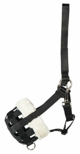 PFIFF GRAZING MUZZLE FOR HORSE FAUX FUR LINED SIZE FULL-to SHETLAND BLACK
