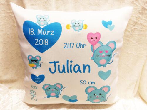 Geburtstag individuell Taufe Geburt Kissen Baby Geschenk,bedruckt