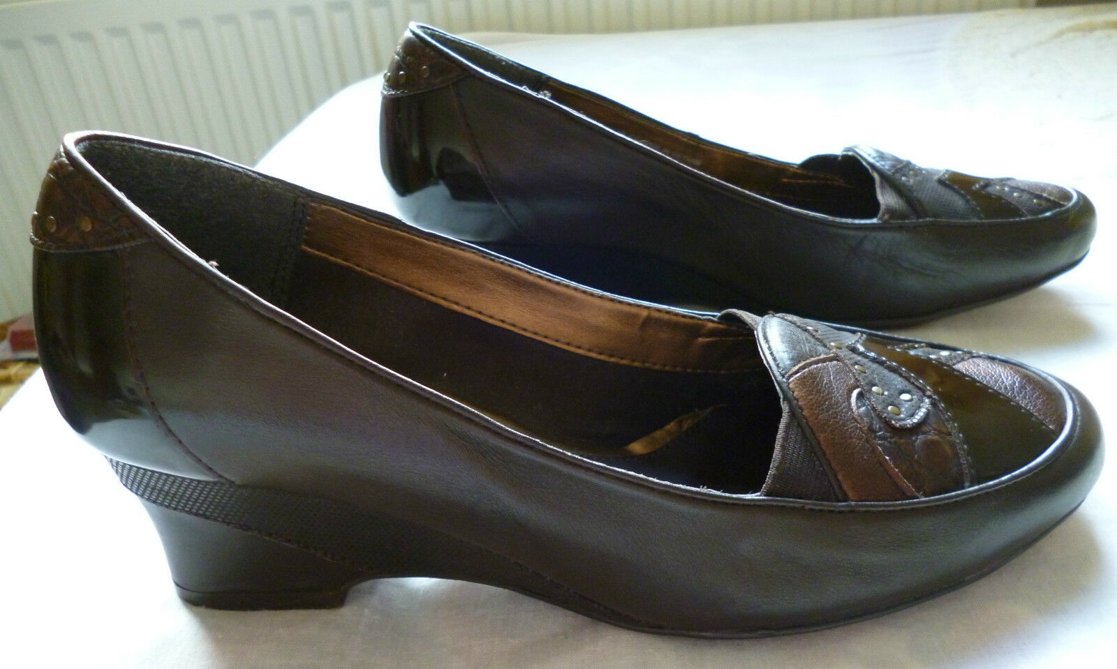 Lady's Brown Leather and patent K Shoes Wedge Heel 4.5/37.5 patchwork detailing