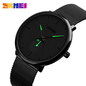 Mens-Minimalist-Ultra-Thin-Analog-Waterproof-Dress-Stainless-Steel-Wrist-Watch