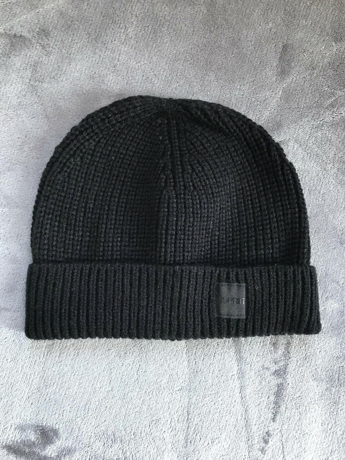 Rippstrick-Beanie mit RWS Wolle Herren schwarz Esprit neu Mütze