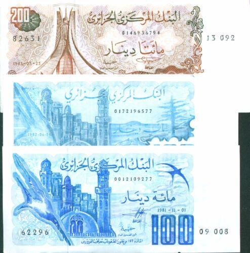 ALGERIA SET 3 DIFFERENT NOTES 100-100-200 DINARS 1981-82-83 3RW 20 ABRIL UNC