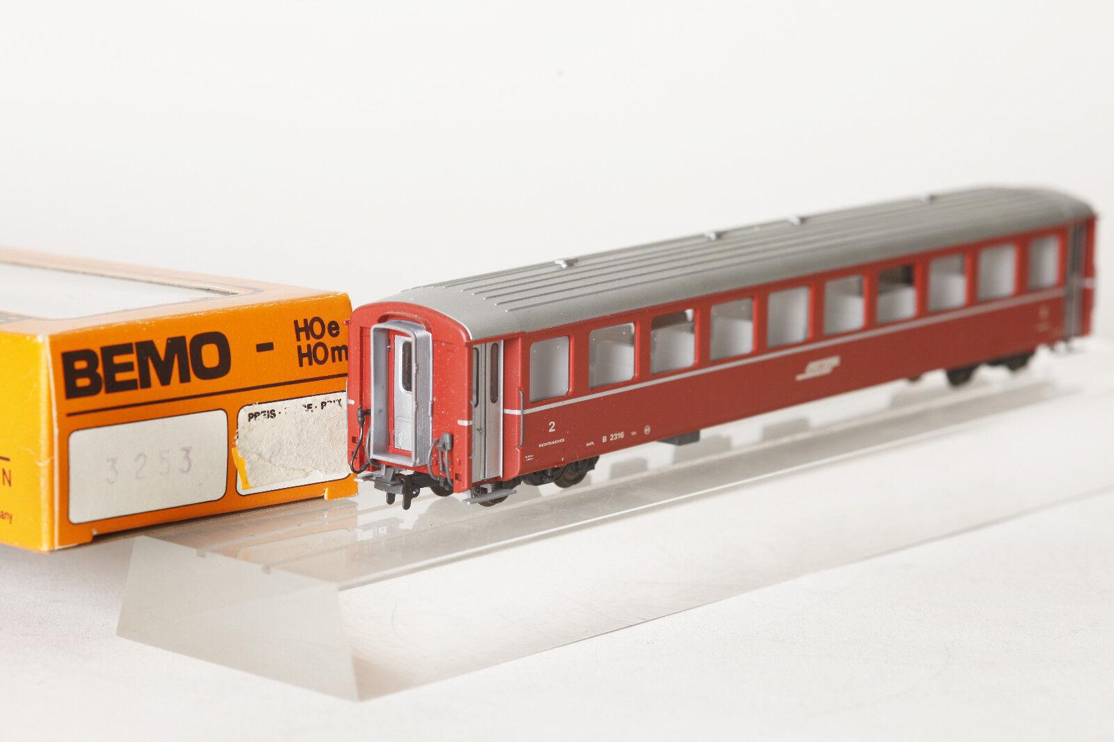 BEMO h0m 3253 126 persone carrello RHB Rhätische Bahn B 2316 EW I 2.kl. ROSSO  72113