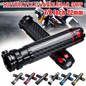 Paire-7-8-039-039-22mm-Poignee-Guidon-CNC-Fibre-de-Carbone-Aluminium-Moto-Enduro-Cross