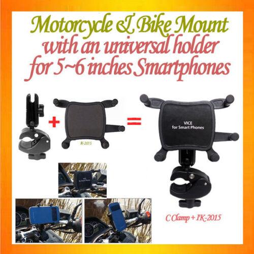 C-shape C Clamp Mount Motorcycle Mount+Universal Holder for 5~6inch smartphones