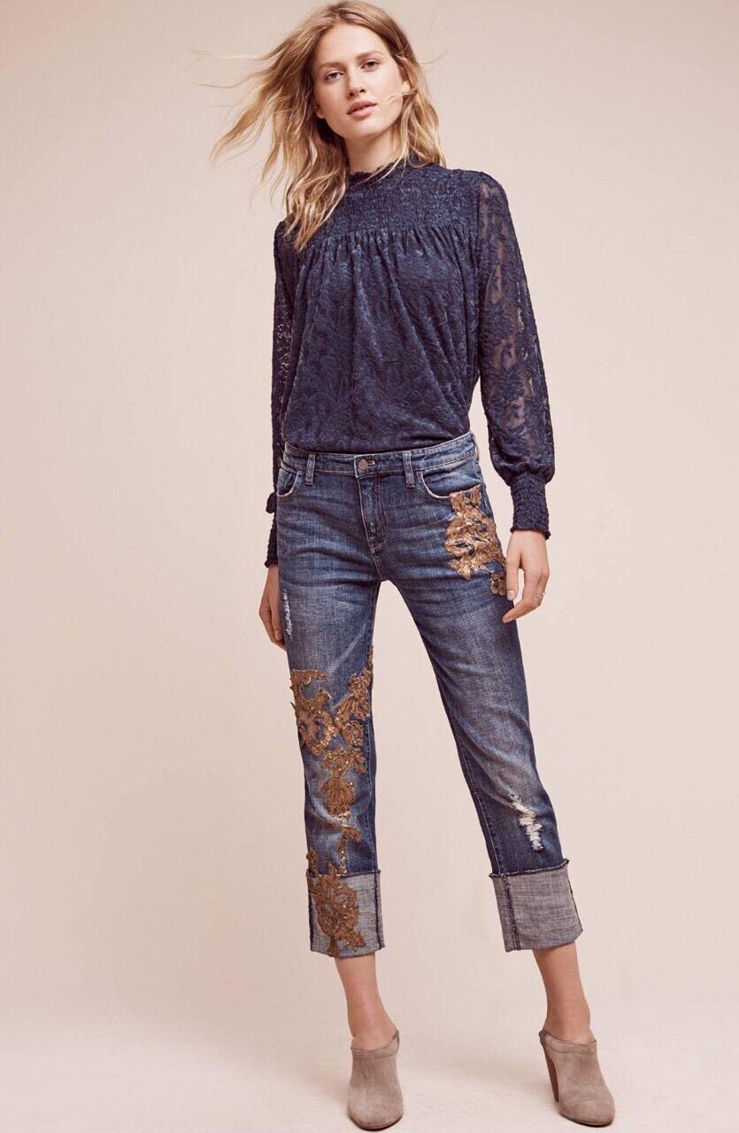 NEW Pilcro Hyphen Applique Mid-Rise Jeans Size 29