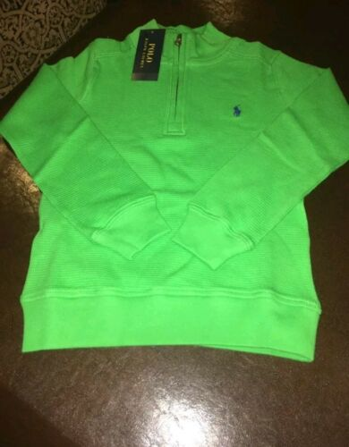 NWT POLO RALPH LAUREN TODDLER BOYS WAFFLE KNIT COTTON PULLOVER NEON GREEN