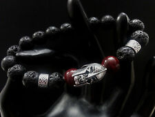 Spartan Warrior Skull Black Lava Blood Bead Brimstone Baby Chrome King Bracelet