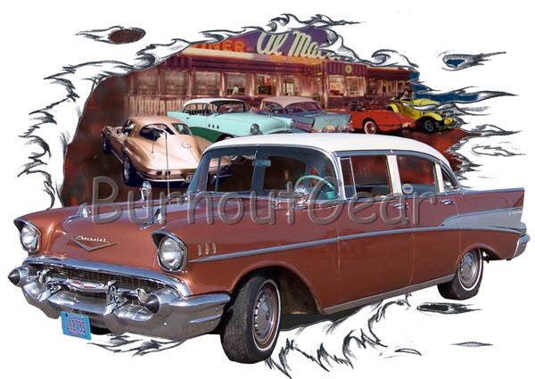 1957 Bronze Chevy Bel Air 4 door Custom HotRod Diner T-Shirt 57 Muscle Car Tee's