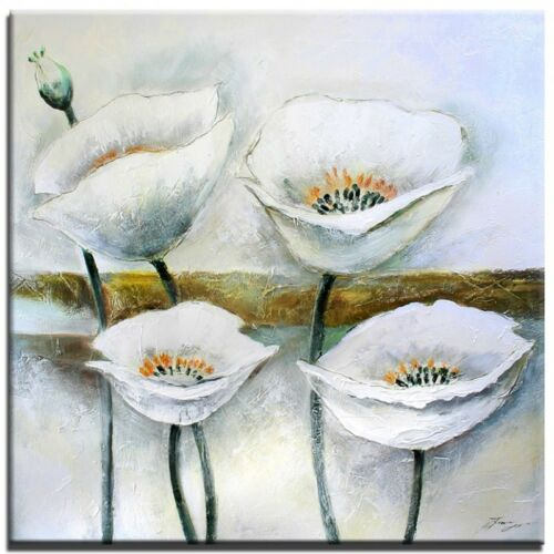 Mohn Blumen-60x60cm-Ölgemälde Handgemalt Leinwand Signiert G01341
