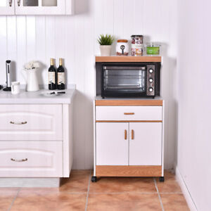 Image Is Loading Microwave Oven Cabinet Wheeled Storage Cupboard Shelf Kitchen