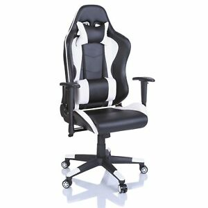 SILLA DE OFICINA SILLON DE DESPACHO ESTUDIO ERGONOMICA GAMING RACING BLANCO