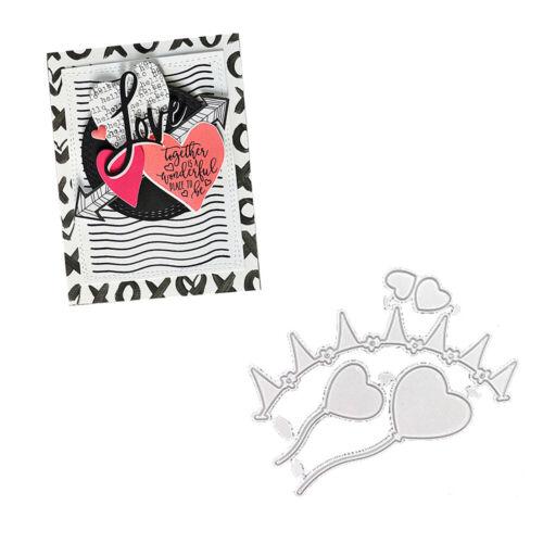 Stanzschablone Herz Fahne DIY Grußkarte Album Deko Stencil Scrapbooking Basteln